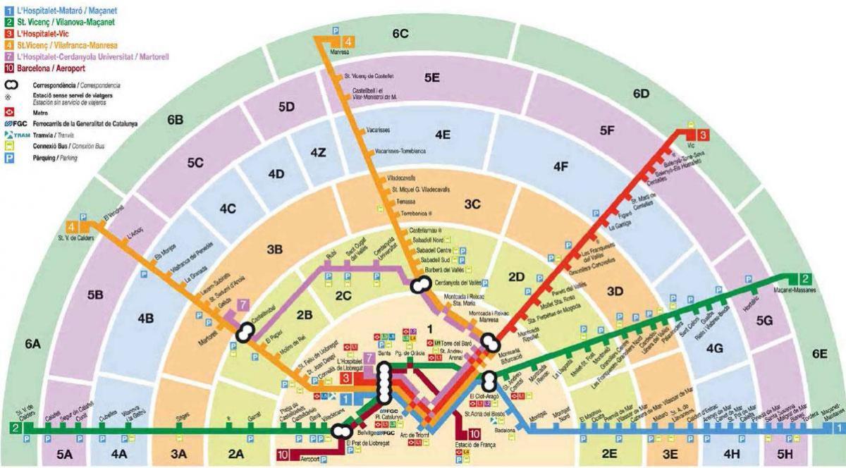 Mapa Transporte Publico Barcelona.Barcelona Transporte Mapa De Zona Barcelona De