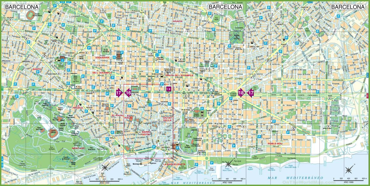 Barcelona En El Mapa.Barcelona Map Un Mapa De Barcelona Cataluna Espana