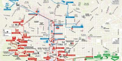 Hop on Hop off bus de barcelona, mapa de la ruta
