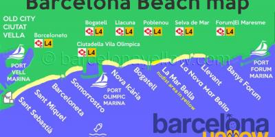 Mapa de la playa de barcelona resorts